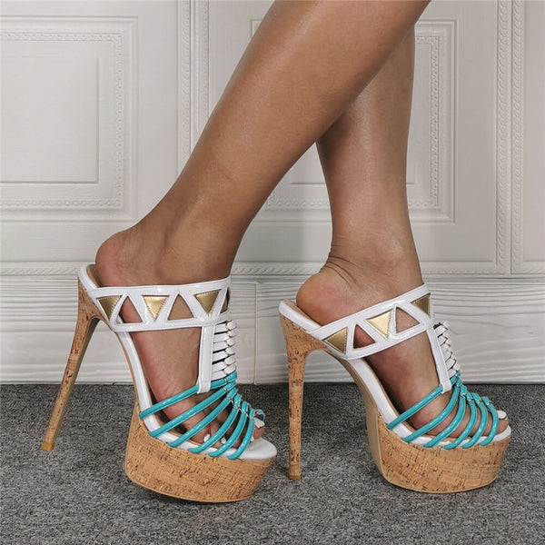 Multi Platform Peep Toe High Heel Sandals