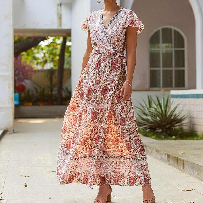 Boho Style Floral Long Wrap Dress