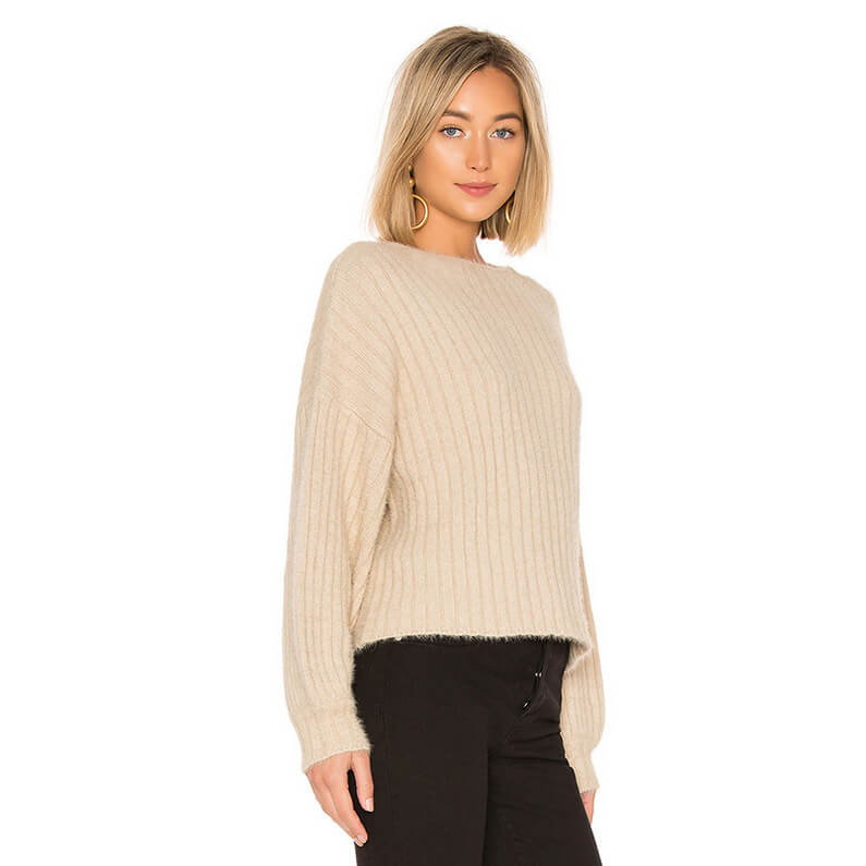 Fashion Oversized Ribbed Knit Pullover Sweaters