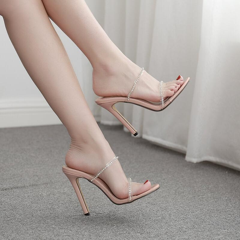 Clear Leather Rhinestone Round Toe Sandals