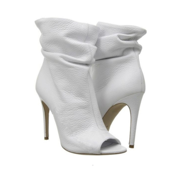 White Peep Toe Leather Ankle Boots