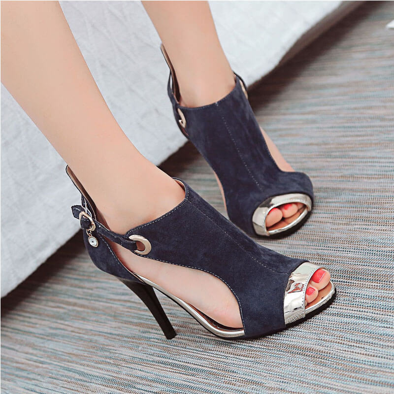 Suede Peep Toe Cutout Patchwork High Heel Sandals
