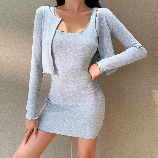 OL Two Piece Set Knitted Dress