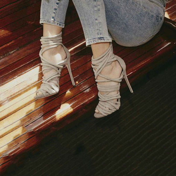 Sexy Beige Strap Peep Toe Cutout High Heel Sandals