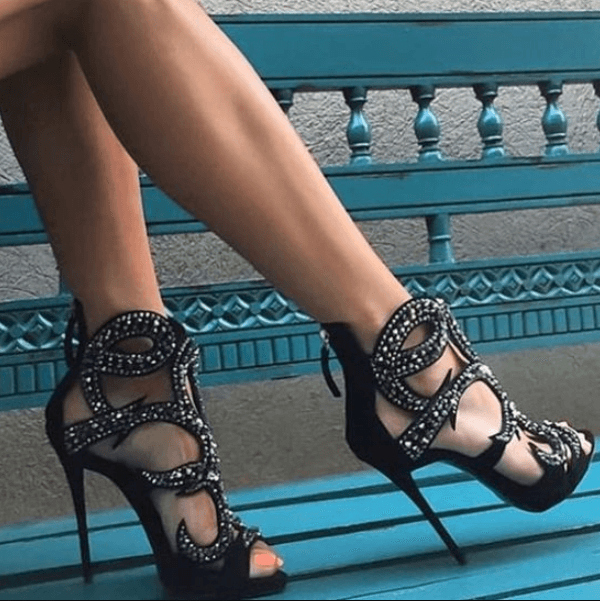 Party Suede Rhinestone Cutout High Heel Sandals