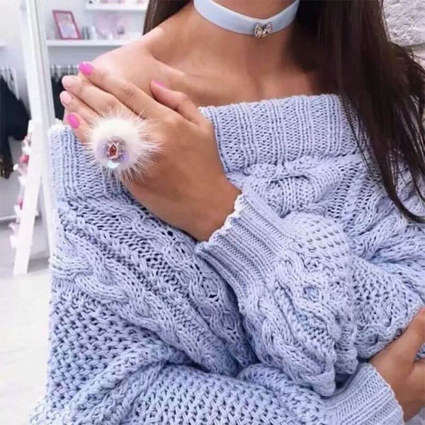 Loose Off Shoulder Knit Sweater