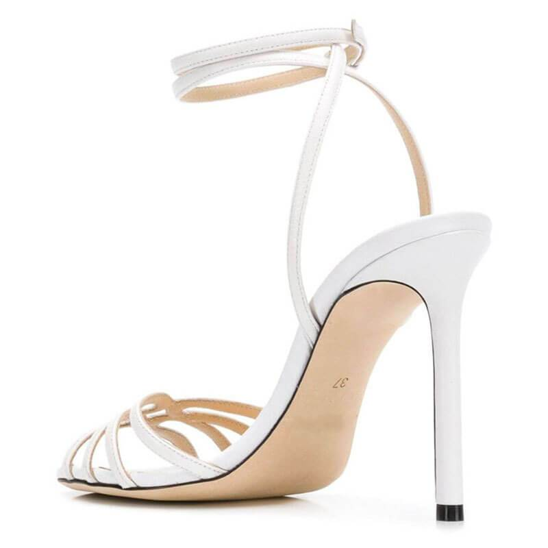 Casual Plain Open Toe Leather Stiletto Heel Sandals