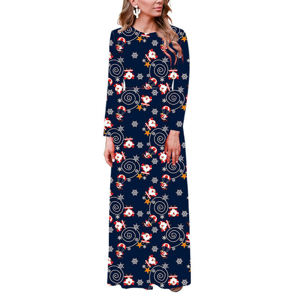 New Christmas Long Sleeve Floral Print Maxi Dress
