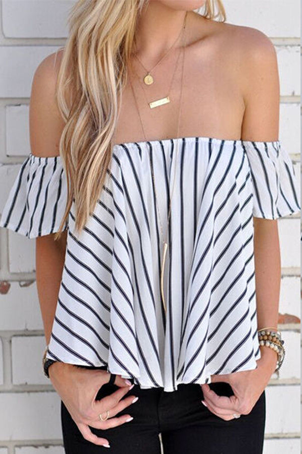 Striped Off Shoulder Short Sleeves Loose Blouse