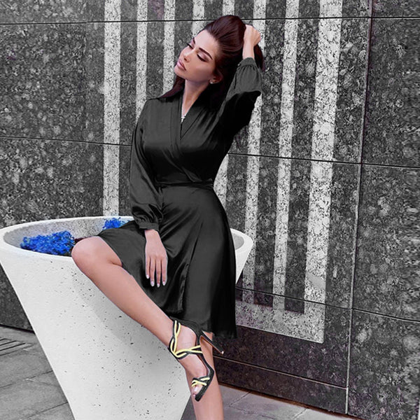 Elegant Long Sleeve Empire Waist Wrap Dress