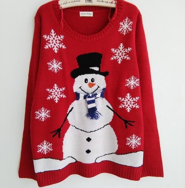 Red Christmas Snowman Snowflake Scoop Long Sleeve Sweater