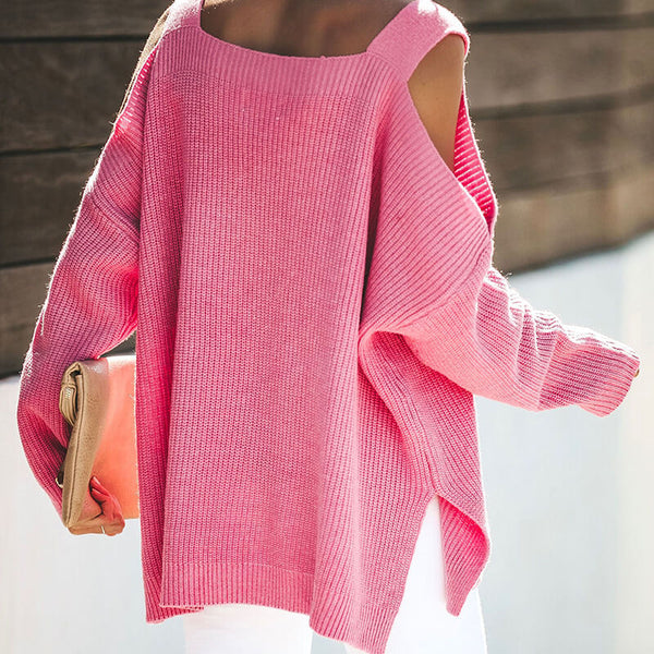 Oversized Cold Shoulder Hot Pink Sweater