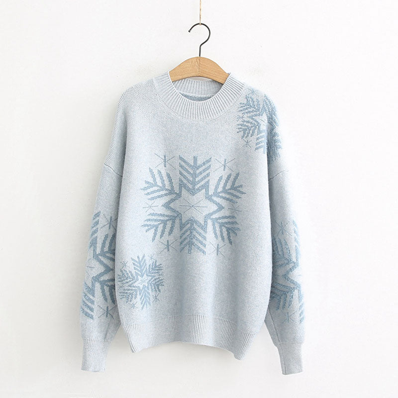 Snowflake Pattern Knitting Christmas Sweater
