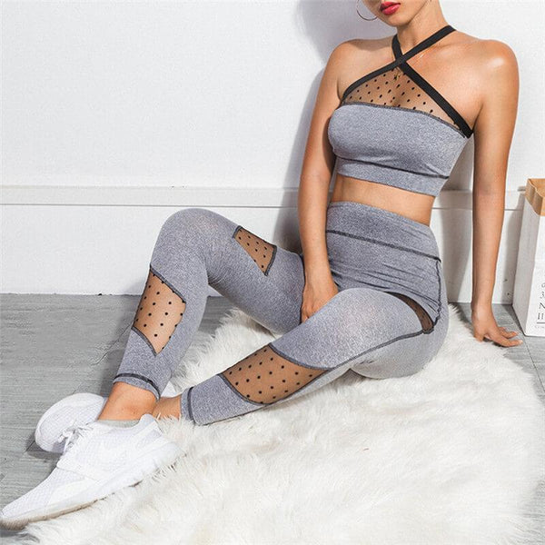 Sports Gray Mesh Patchwork Bodycon Skinny Two Pieces Set