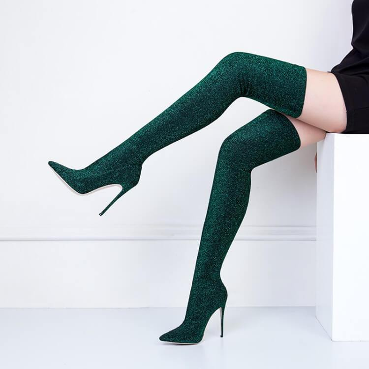 Thigh High High Heel Glitter Pointed Toe Boots