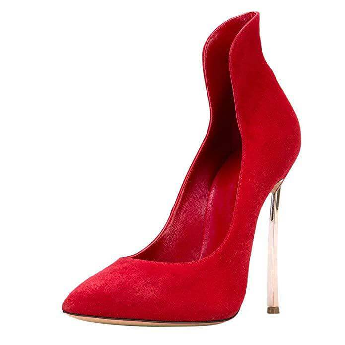 Sexy Red Suede Pointed Toe Pumps