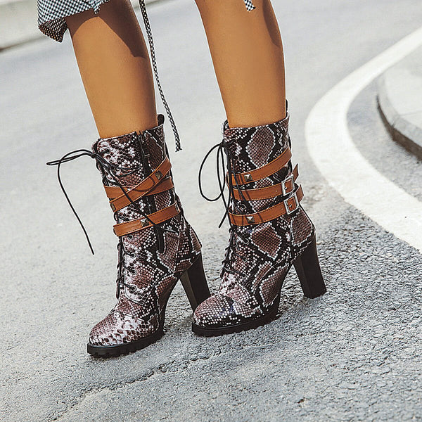 Snakeskin Leather Lace Up High Chunky Heel Boots