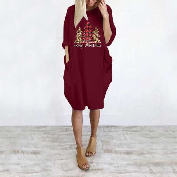 Christmas Tree Print Sweatshirt Midi Dress