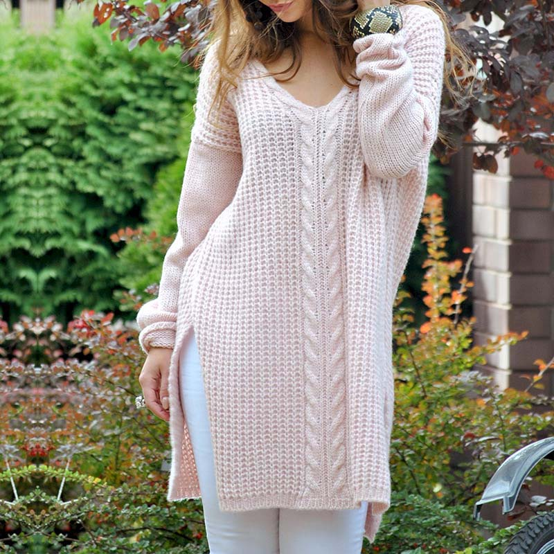 V Neck Slit Cable Knitted Oversized Sweaters