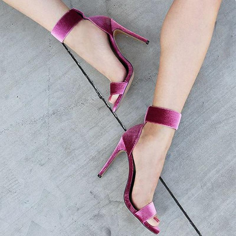 Leatherrple Suede Buckle Open Toe High Heel Sandals