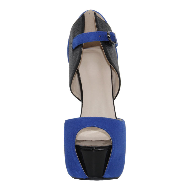 Casual Peep Toe Platform High Heel Patchwork Sandals