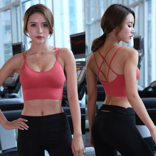 Sports Bra Plain Back Cross Underwear Tank Tops