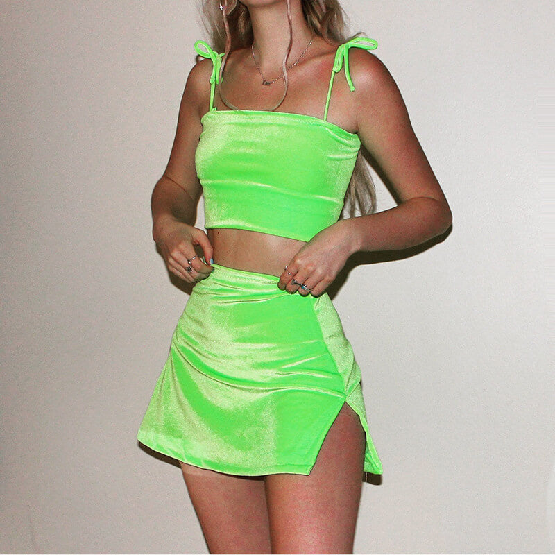 Spaghetti Straps Crop Top Bright Short Skirt Set
