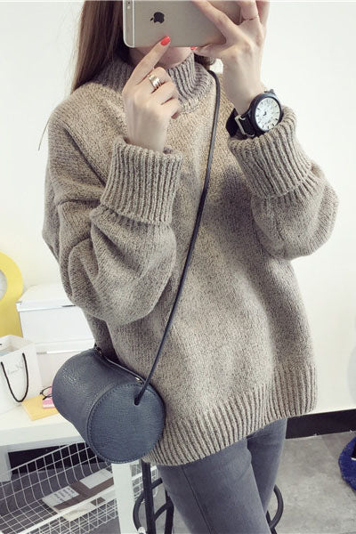 Loose Middle Neck Solid Color Warm Sweater