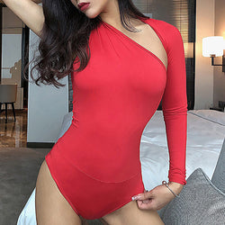 One Shoulder Hollow Out Bodysuit