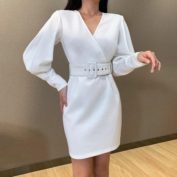 OL Tie Waist White Bodycon Dress