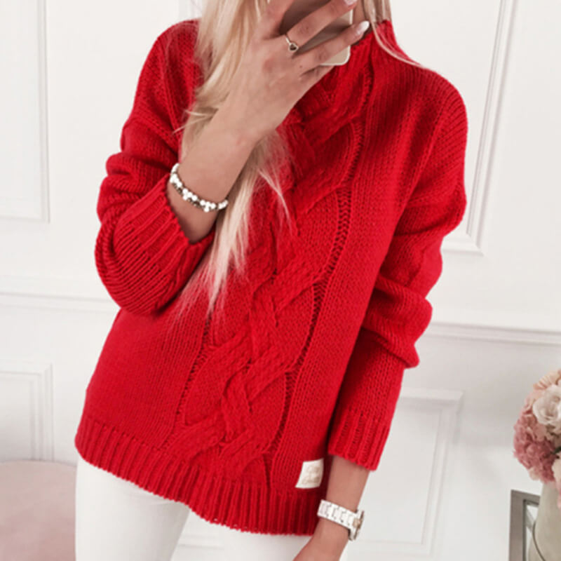 Oversized Mock Neck Cable Knitted Sweater