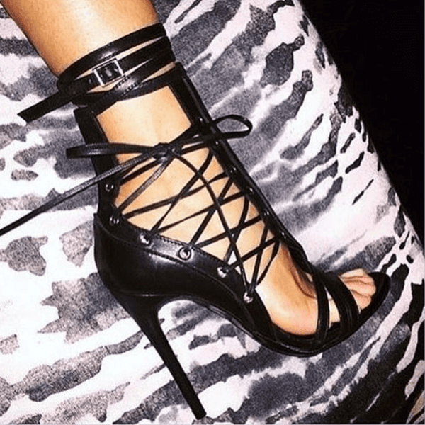 Summer Black Leather Strap Open Toe Cutout Sandals