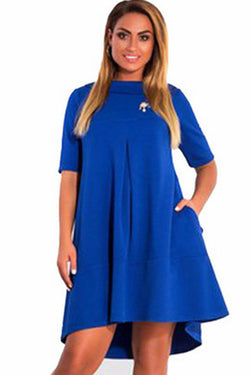 Pure Color Scoop Lapel Neckline Loose Plus Size Short Dress