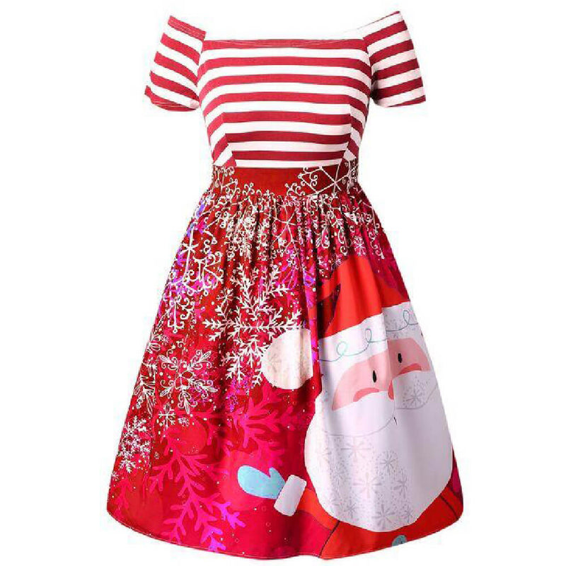 Cute Santa Print  Striped Plus Size Dress