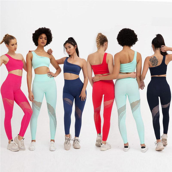 Yoga One Shoulder Tank Top High Waist Bodycon Skinny Pant Sets
