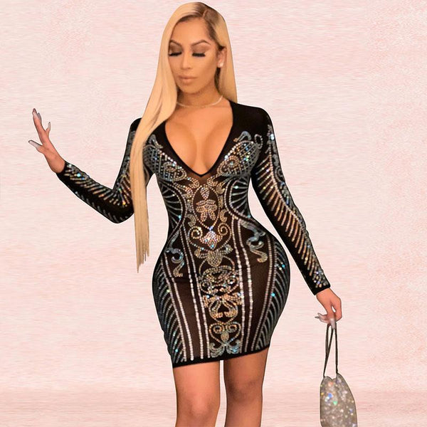Sequin Pattern Long Sleeve Short Bodycon Dress