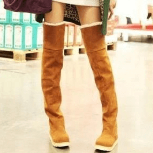 Platform Flat Suede Over Knee Boots