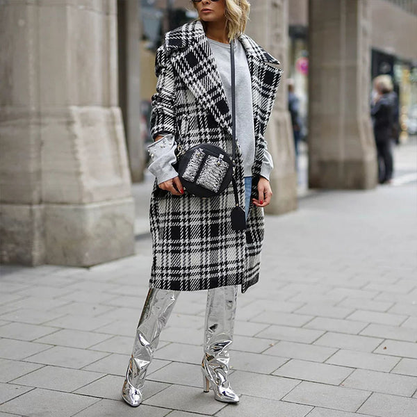 Shearling Plaid Tweed Over Coat