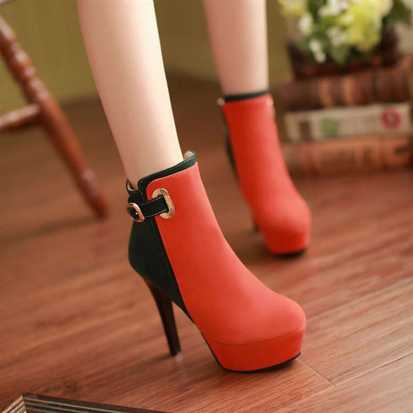 Elegant High Heeled Contrast Color Splicing Short Boots