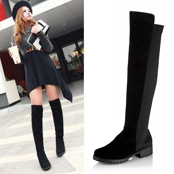 Black Fashion Women's Shoes Over the knee Faux Suede High Flat Boots