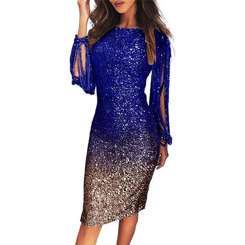 Gradient Sequins Fringed Sleeve Dress