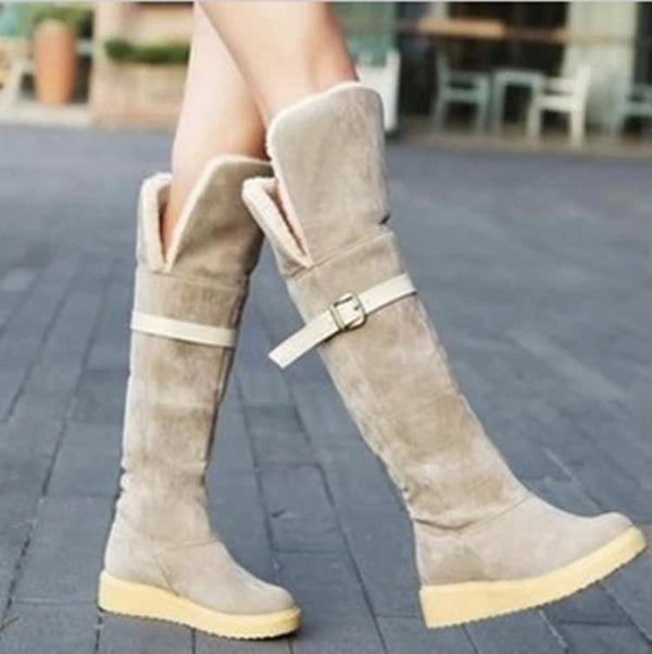 Women's Round Head Flat Knee-High Snow Boots