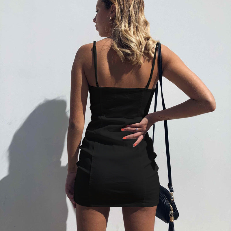 Spaghetti Straps Zipper Solid Color Women Short Bodycon Dress