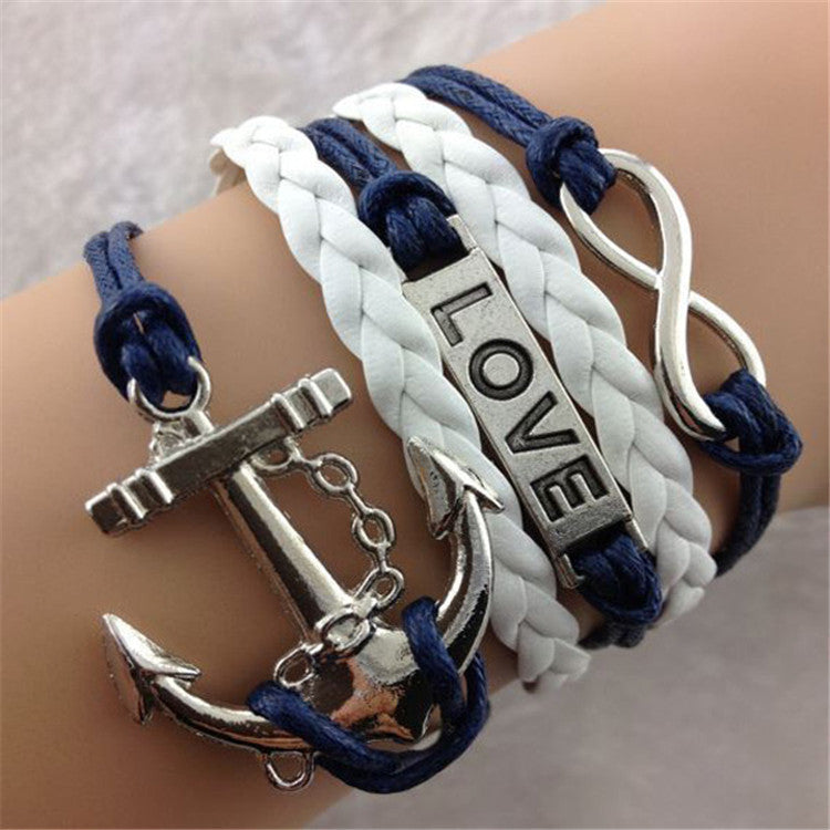 Hot Sale Anchor LOVE Leather Bracelet