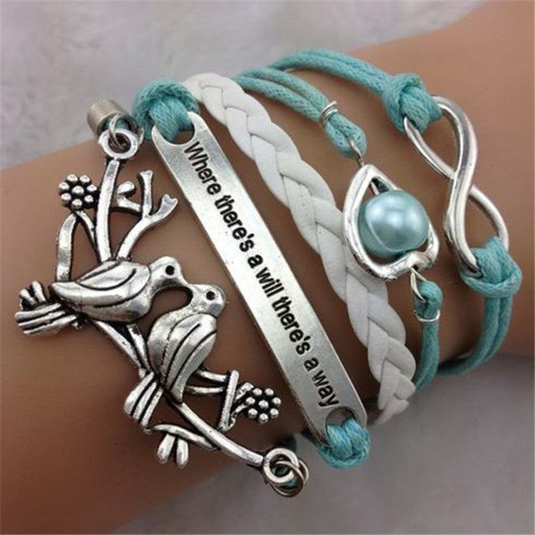 Love Birds Heart Pearl Multilayer Woven Bracelet