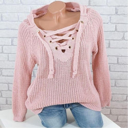 Oversized Lace Up Hooded Sweater