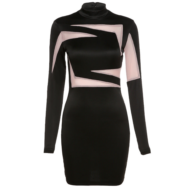 Long Sleeve Round Neck Contrast Dress