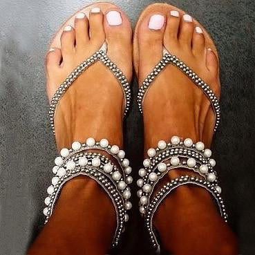 Beading Rhinestone Thong Women's Flat Flops Sandals - May Your Fashion - 1