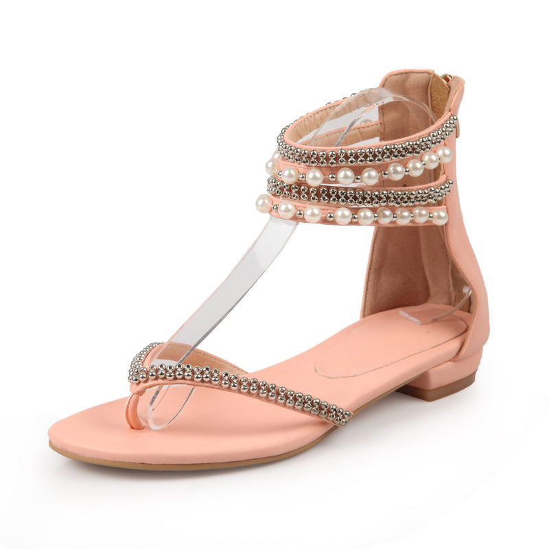 Beading Rhinestone Thong Women's Flat Flops Sandals - May Your Fashion - 5