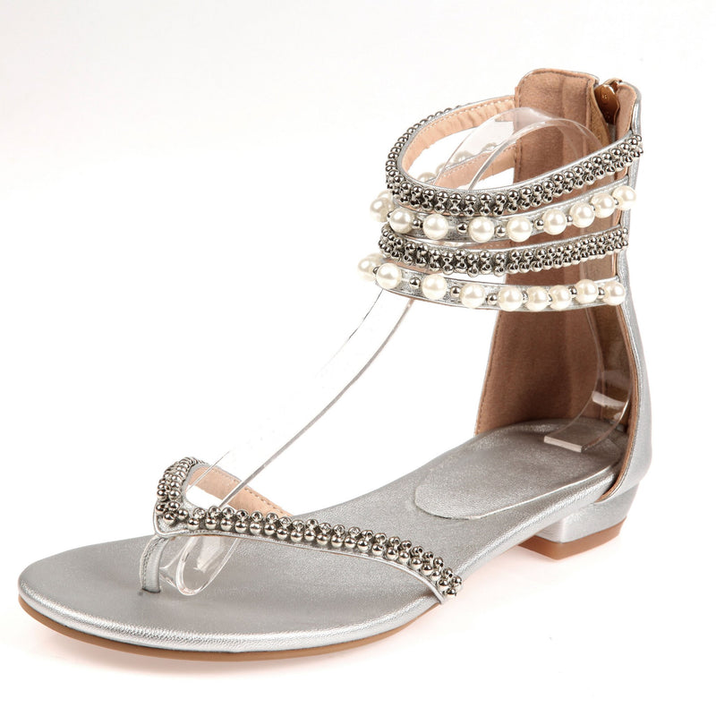 Beading Rhinestone Thong Women's Flat Flops Sandals - May Your Fashion - 4